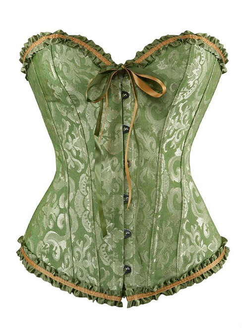 Green Elegant Embroidery Corset