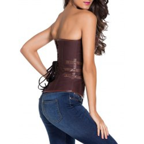 Cheap Faux Leather Panel Lace Up Corset Top