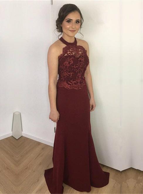 Burgundy Lace Appliques Mermaid Bridesmaid Dress