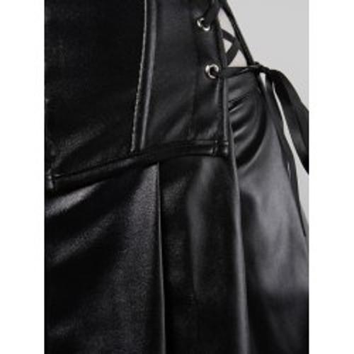 Cheap Straps Zipper Design Cutout Corset and Mini Skirt Twinset -