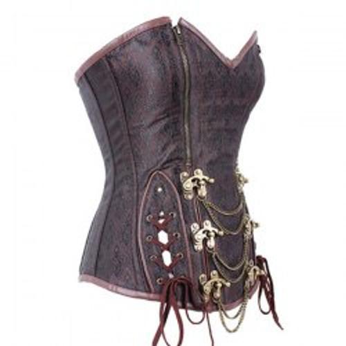 Cheap Women's Trendy Steampunk Brown Beaded Zipper Corset