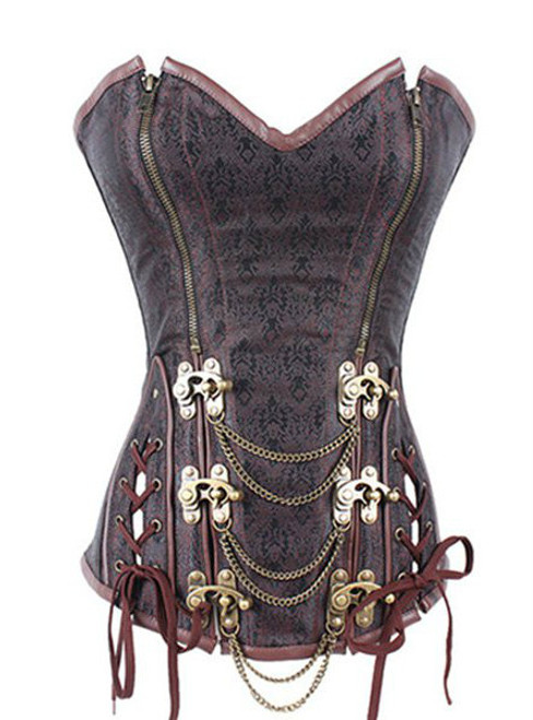Cheap Women's Trendy Steampunk Brown Beaded Zipper Corset