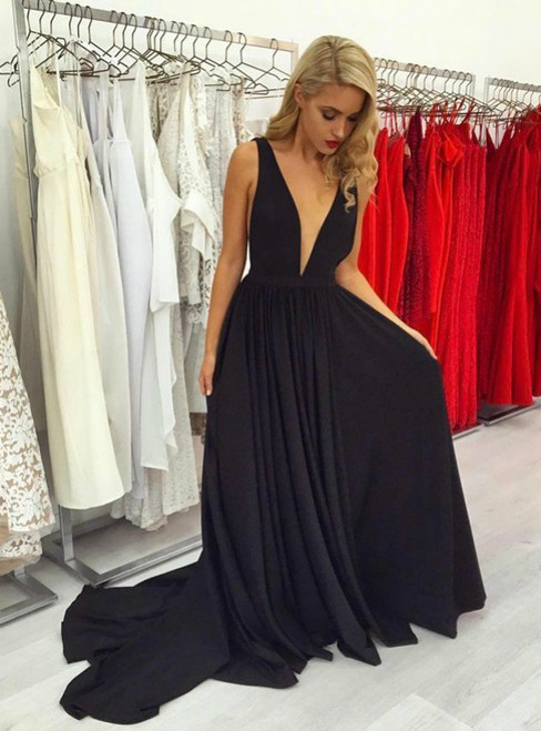 Sexy Backless Deep V neck Long Girls Formal Gown