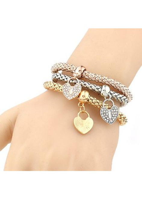 Cheap Rhinestone Embellished Heart Shape Design Metal Bracelet