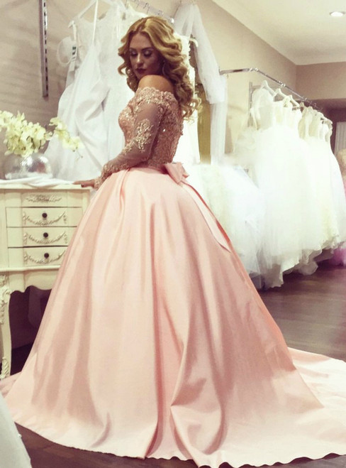 Pink Satin Ball Gown Long Sleeves Prom Dress with Bow