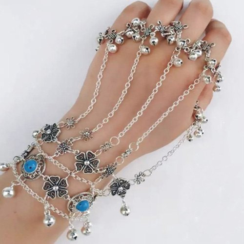 Cheap Vintage Layered Clover Beads Bracelet With Ring