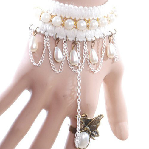 Cheap  Faux Pearl Butterfly Bracelet With Ring