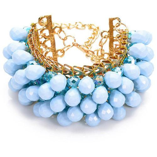 Blue Faux Crystal Water Drop Beaded Bracelet
