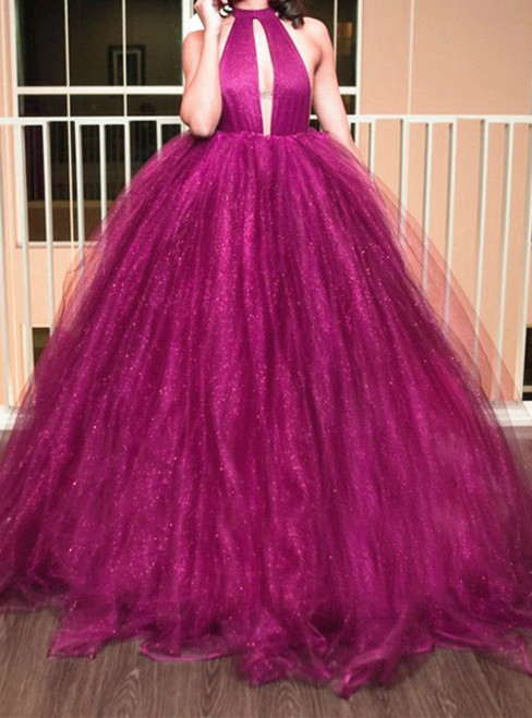 Fuchsia Glitter Tulle Backless Prom Dress Ball Gowns