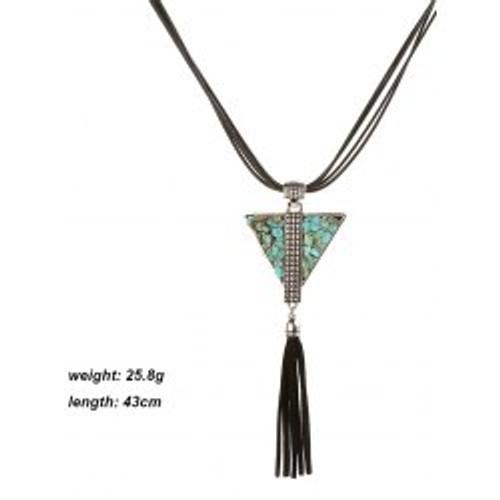 Fashion  Leather Layered Triangle Turquoise Fringe Necklace