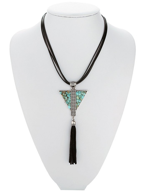 Fashion  Leather Layered Triangle Turquoise Fringe Necklace