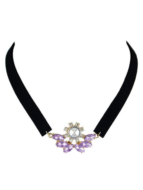Cheap  Faux Crystal Velvet Choker Necklace