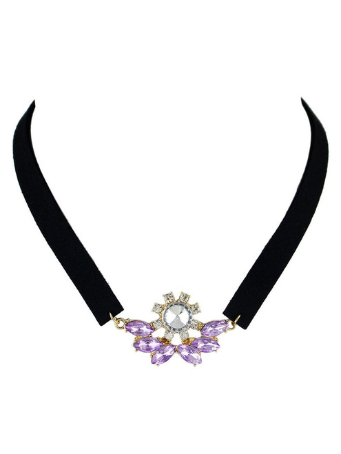 Cheap  Faux Crystal Velvet Choker Necklace