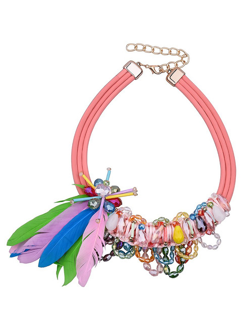 Beautiful Feather Beads Tassel Layered Necklace