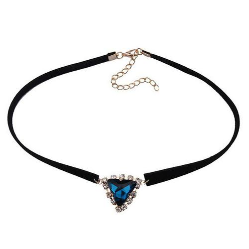 Cheap Faux Gem Velvet Triangle Choker Necklace