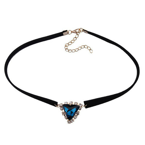 Cheap Faux Gem Velvet Triangle Choker Necklace