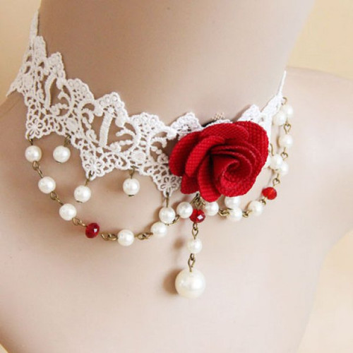 Cheap Lace Faux Pearl Design Flower Shape Choker Necklace