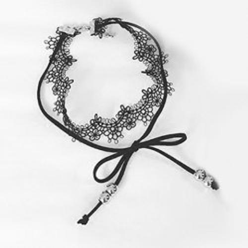Cheap Bowknot Lace Layered Choker Necklace