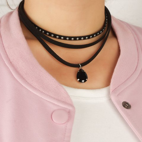 Cheap Black Three Layered Chokers Chain For Women