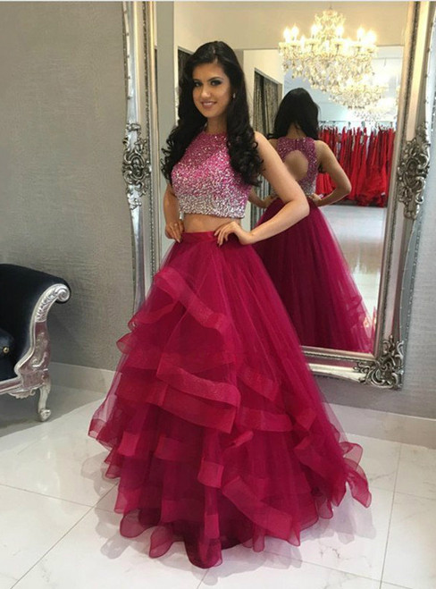 A-Line Sparkly Sequins Two  Pieces Backless Tulle Prom Dresses