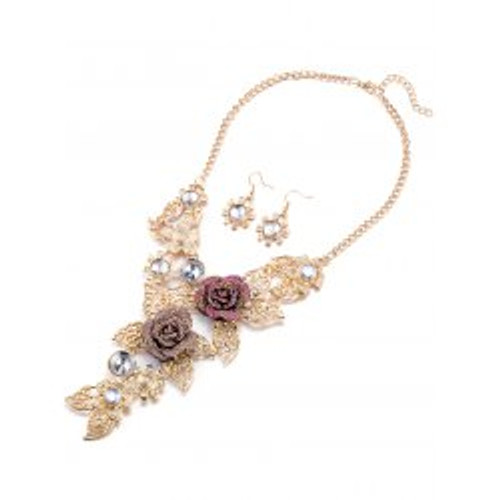 Cheap Faux Crystal Blossom Necklace and Earrings