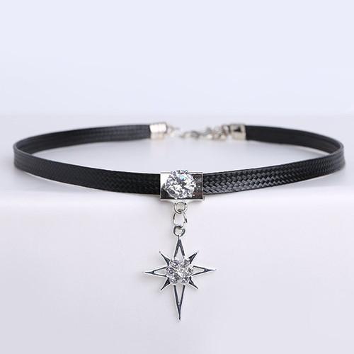 Cheap  PU Leather Rhinestone Star Choker Necklace