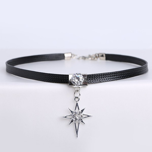 Cheap  PU Leather Rhinestone Star Choker Necklace