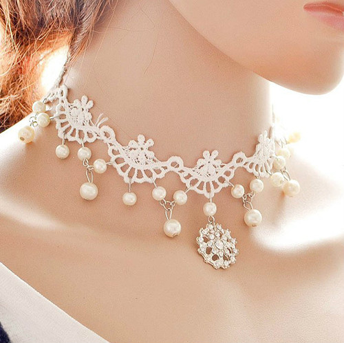 White Rhinestone Lace Wedding Jewelry Choker