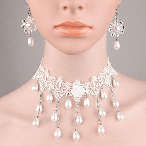 Cheap Tiered Lace Crochet Teardrop Fake Pearl Bridal Necklace