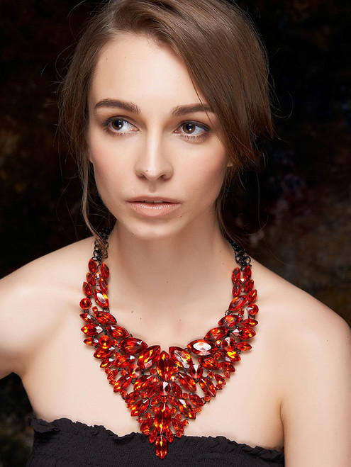 Cheap Layered Faux Ruby Necklace