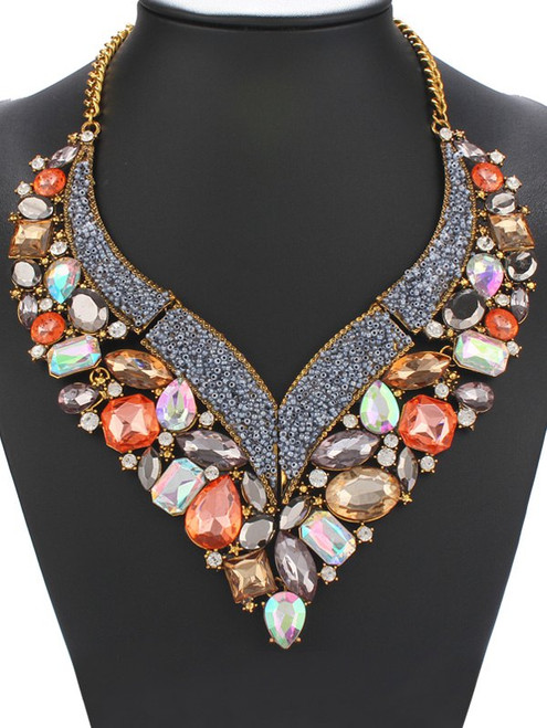 Fashion Faux Crystal Geometric Heart Necklace