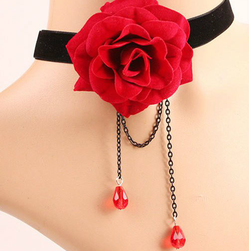 Cheap Flower Velvet Layered Choker Necklace