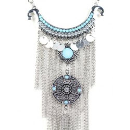 Cheap Bohemian Rhinestone Chain Fringe Necklace