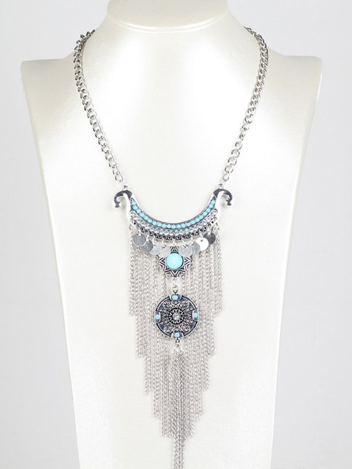 Cheap Bohemian Rhinestone Chain Fringe Necklace