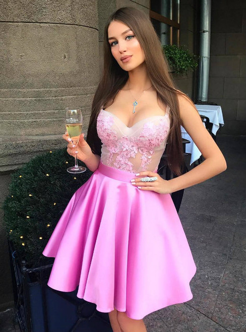 Sexy Illusion Bodice Pink Short Party Dresses Lace Appliques Midi Gowns 2017