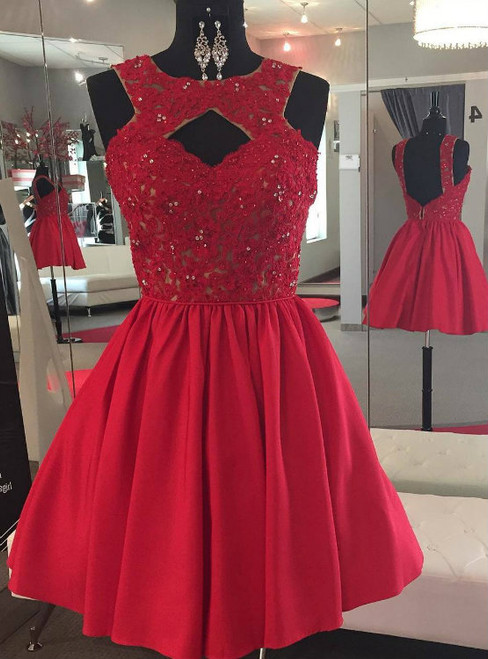 Backless Beaded Lace Red Satin Homecoming Dress Short Prom Gowns