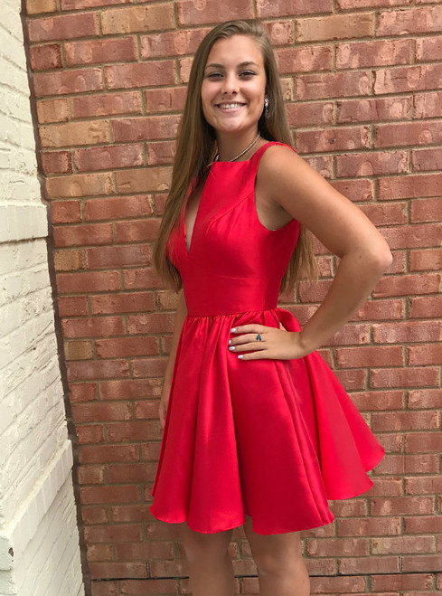 Simple Red Satin V neck Short Party Dresses Back Keyhole Homecoming Gowns