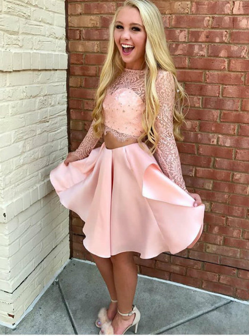 Pink Lace Satin Short Two Piece Homecoming Dresses Long Sleeves 2017
