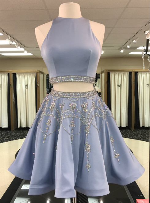 Blue Satin Crystal Beaded Skirt Two Piece Short Homecoming Dress