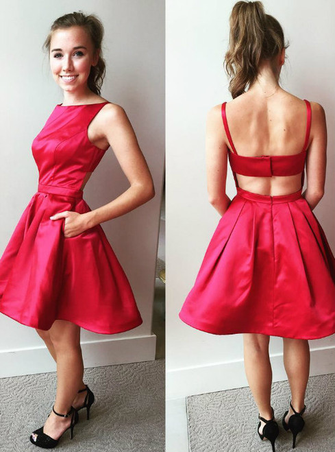 Back Nude Simple Pockets Short Homecoming Dress Party Gowns in Red Satin