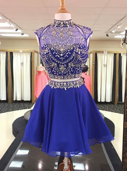 Crystal Beaded High Neck Two Piece Homecoming Dresses in Royal Blue Chiffon 2018
