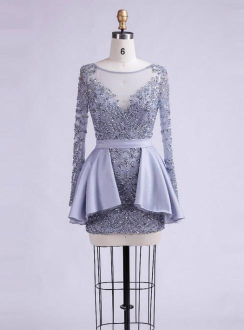 Short Homecoming Dress Tulle Homecoming Dress  Long Sleeve