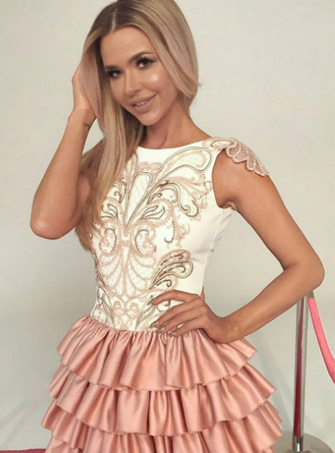 Short A-line Sleeveless Modern Layers Short/Mini Homecoming Dress