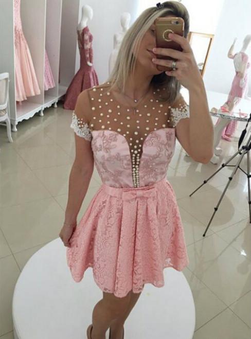 2017 Short Lace Homecoming Dress Custom Made Princess Short Sleeves Short/Mini