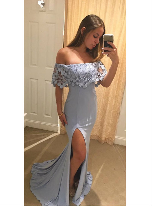 Off the Shoulder Lace Chiffon Mermaid Evening Long Dresses with Side Slit
