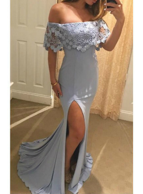 Off the Shoulder Lace Satin Mermaid Evening Long Dresses with Side Slit