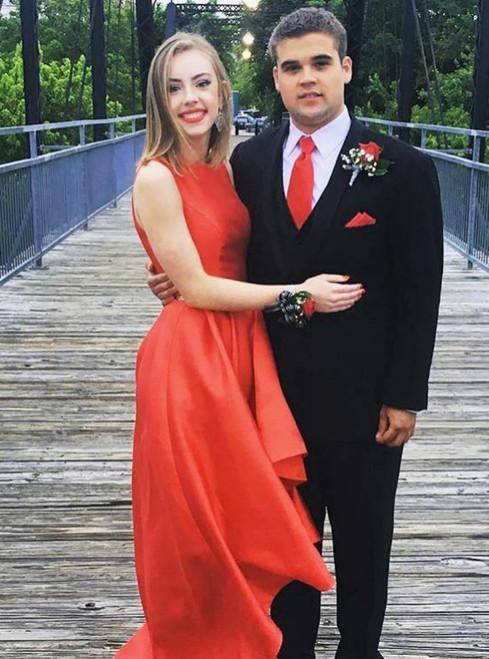 Red Satin High Low Satin Sleeveless Prom Dress