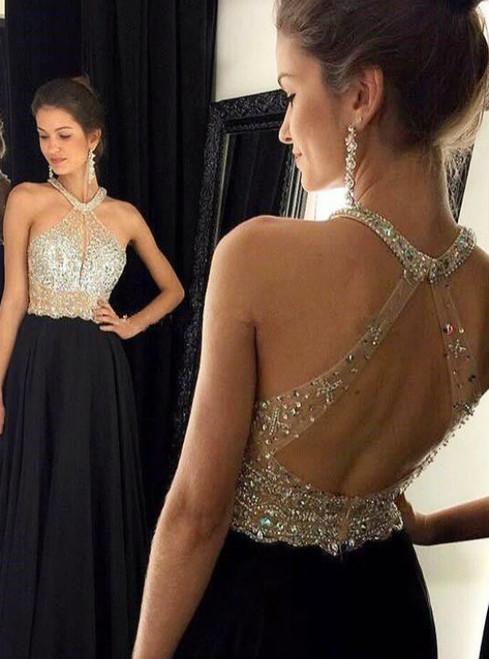 New Fashion A- Line Halter Black Chiffon Long Evening Dresses 2017