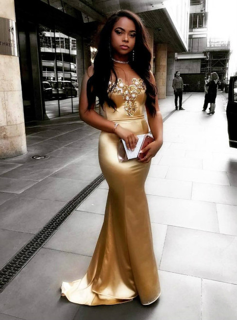 Long Gold Satin Beaded Sweetheart Mermaid Evening Dresses