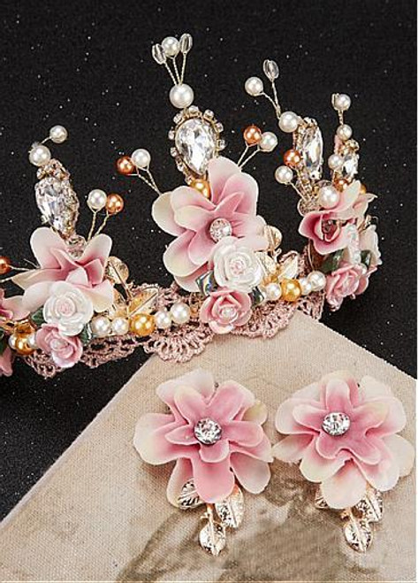 Fashionable Eye-catching Alloy Wedding Sets With Handmade Flowers